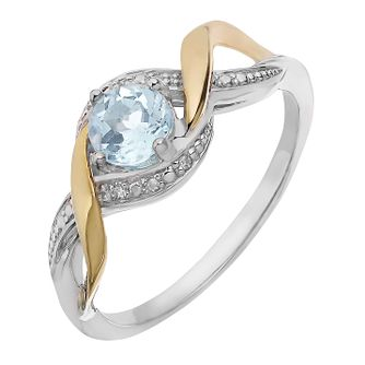 Silver & 9ct Yellow Gold Diamond & Aquamarine Twist Ring - Product number 2273195