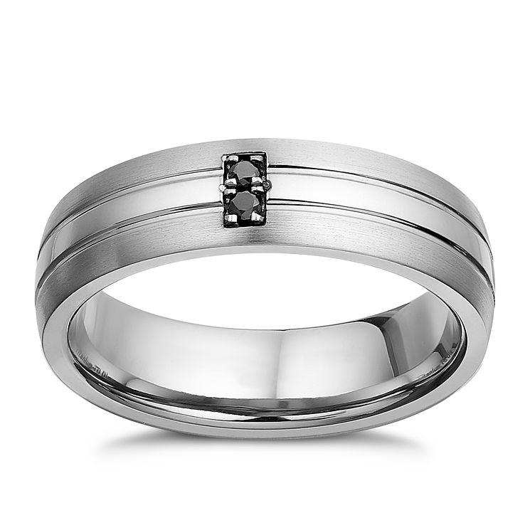 Titanium Treated Black Diamond Menu0027s Ring   Product Number 2277786