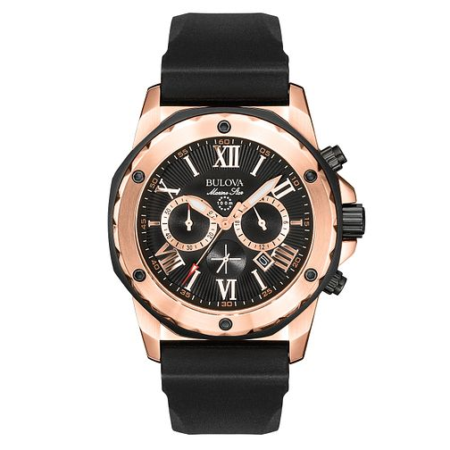 Bulolva Marine Star men's black rubber strap watch - Product number 2293021