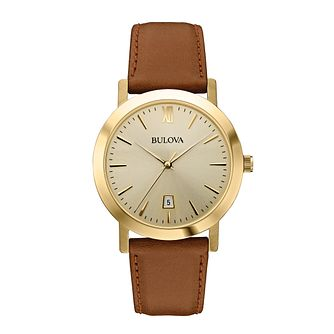 Bulova Dress ladies' brown leather strap watch - Product number 2293153