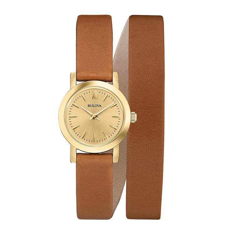 Bulova Dress ladies' double wrap tan leather strap watch - Product number 2293161
