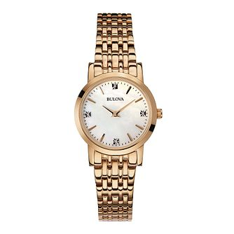 Bulova ladies' rose gold-plated bracelet watch - Product number 2293226