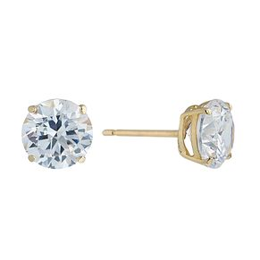 9ct Yellow Gold & 7mm Round Cubic Zirconia Stud Earring - Product number 2296101