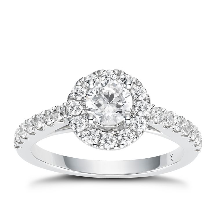 Tolkowsky 18ct White Gold 1ct I-I1 Diamond Halo Ring - Product number 2296349