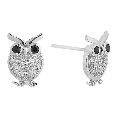 Sterling Silver Cubic Zirconia Owl Stud Earrings - Product number 2296837