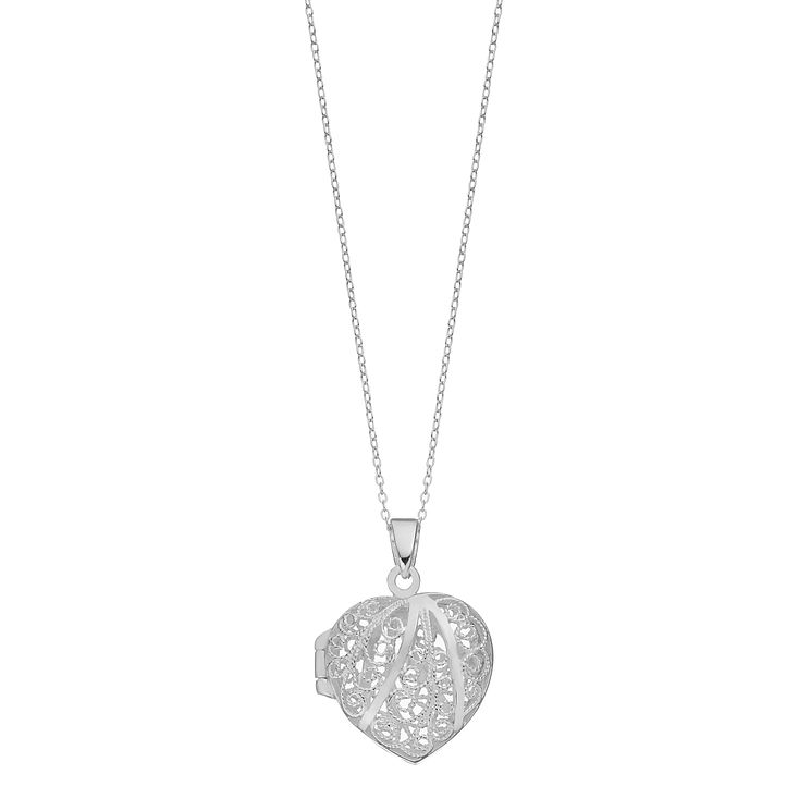 Sterling Silver Filigree Swirl Heart Locket - Product number 2296942