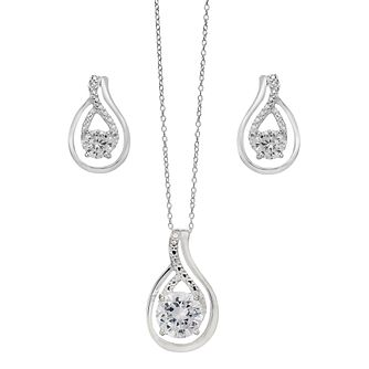 Silver & Cubic Zirconia Large Swirl Earring & Pendant Set - Product number 2297752