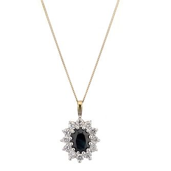 9ct Gold Sapphire & Cubic Zirconia Pendant - Product number 2298996