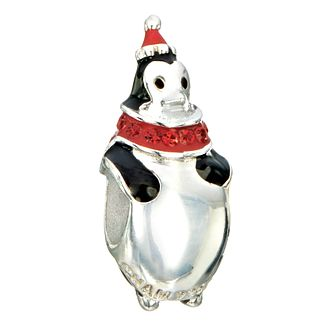 Chamilia silver, black enamel & siam stone set Penguin bead - Product number 2302985