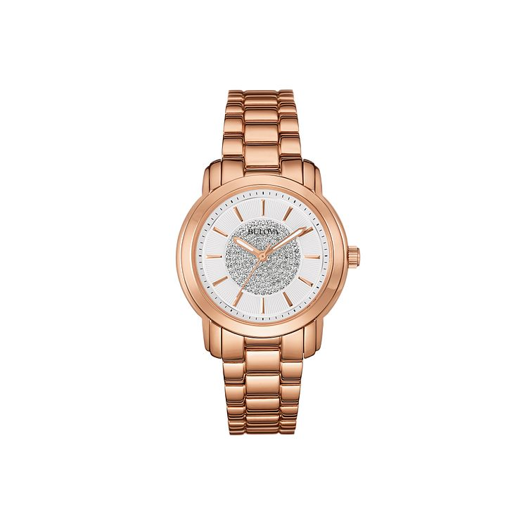 Bulova Ladies' Rose Gold Ion Plated Pave Crystal Set Watch - Product number 2303213