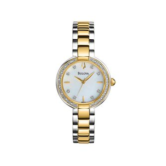 Bulova Ladies' Diamond Set Two Tone Bracelet Strap Watch - Product number 2303272