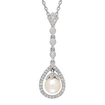 Neil Lane Designs silver 0.20ct diamond and pearl pendant - Product number 2308363