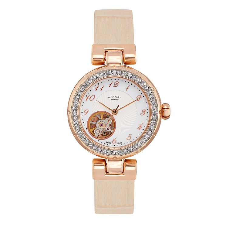Rotary Paris ladies' stone set cream leather strap watch - Product number 2308894