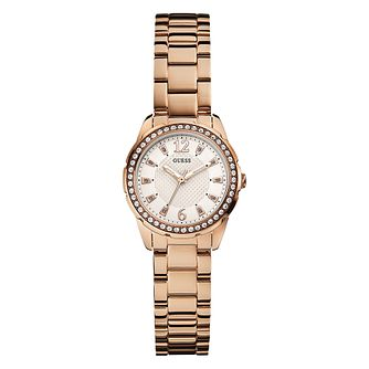 Guess Ladies' Rose Gold Tone Crystal Watch - Product number 2316730