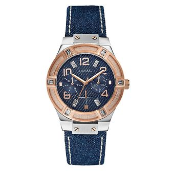 Guess Ladies' Rose Gold Tone Denim Crystal Watch - Product number 2316757