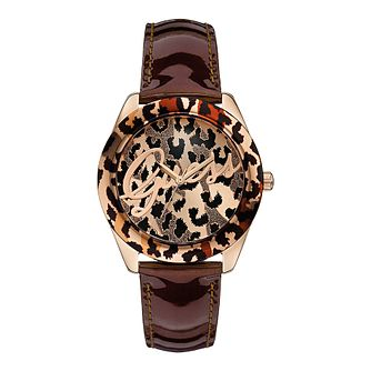 Guess Ladies' Leopard Print Temptress Brown Strap Watch - Product number 2317303