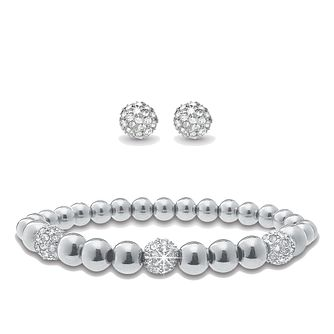 Mikey Silver Tone Crystal Set Earring & Bracelet Set - Product number 2323117