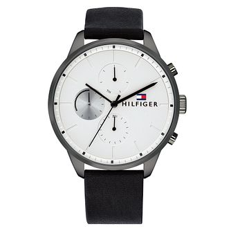 Tommy Hilfiger Chase Men's Black Leather Strap Watch - Product number 2324563