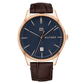 Tommy Hilfiger Damon Men's Brown Leather Strap Watch - Product number 2324725