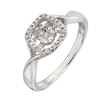 Diamonds In Rhythm Sterling Silver Square Diamond Ring - Product number 2329573