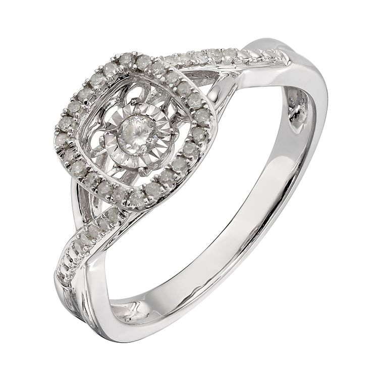 Diamonds In Rhythm Sterling Silver Square Diamond Ring - Product number 2329859