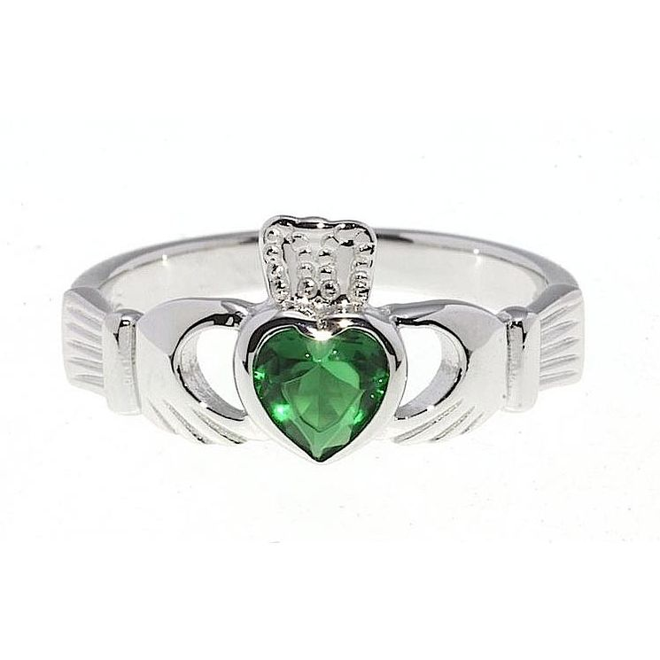 Cailin Sterling Silver Green Cubic Zirconia Claddagh Ring P - Product number 2330431