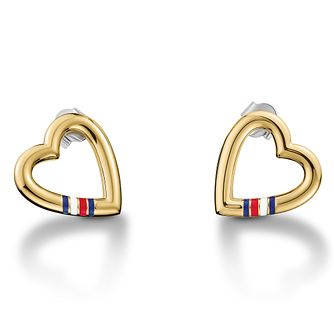 Tommy Hilfiger Open Heart Logo Gold Plated Stud Earrings - Product number 2331217