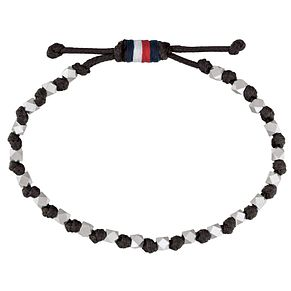 Tommy Hilfiger Men's Beaded Black Leather Wrap Bracelet - Product number 2331519