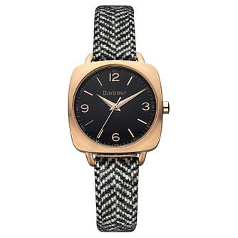 Barbour Chapton ladies' black and white woven strap watch - Product number 2333171