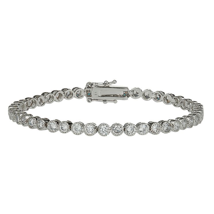 Mikey Silver Tone Cubic Zirconia Single Strand Bracelet - Product number 2335972