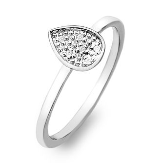 Hot Diamonds Sterling Silver Diamond Teardrop Ring Size P - Product number 2336375