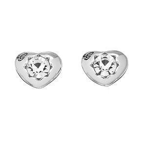 Guess Rhodium Plated Mini Heart Crystal Stud Earrings - Product number 2336626