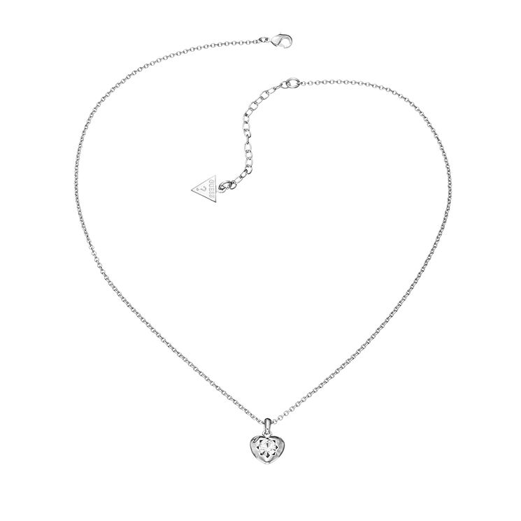 Guess Rhodium Plated Mini Heart Crystal Necklace - Product number 2336804