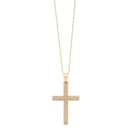 9ct Yellow Gold Polished Hollow Cross Pendant - Product number 2337169