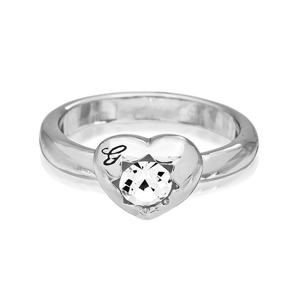Guess Rhodium Plated Mini Heart Crystal Ring Medium - Product number 2337185