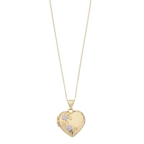9ct Yellow Gold Two Tone Flower Heart Locket - Product number 2337363