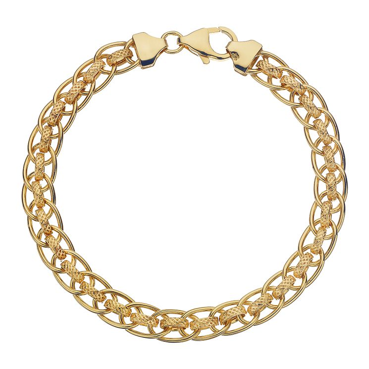 "9ct Yellow Gold Double Oval Chain Bracelet 7.5"" - Product number 2338114"