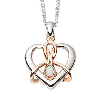 Clogau Silver & Rose Gold Opal Dwynwen Heart Pendant - Product number 2338181