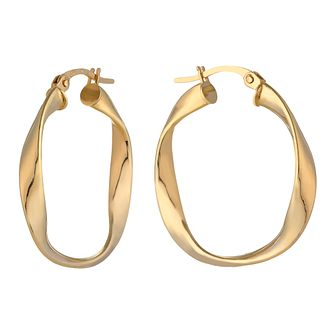 9ct Yellow Gold Fancy Twist Creole Earrings - Product number 2338807