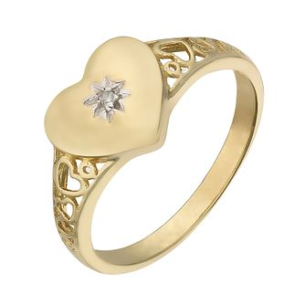 9ct Yellow Gold & Diamond Heart Signet Ring - Product number 2340739