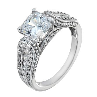 Sterling Silver Princess Cut Cubic Zirconia Solitaire Ring - Product number 2341034
