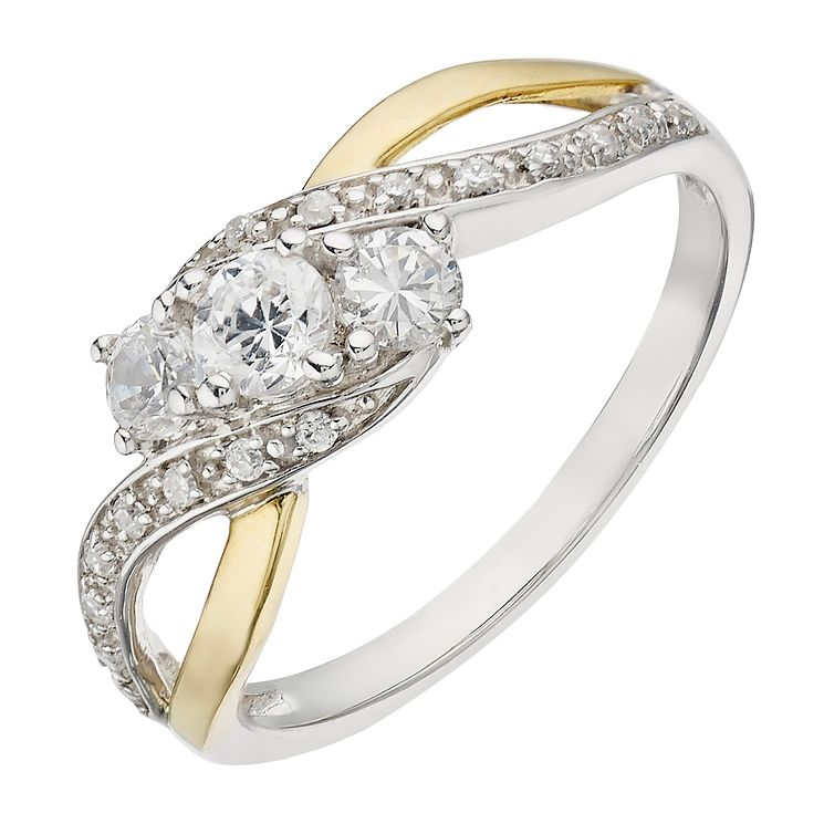 Silver & 9ct Yellow Gold Cubic Zirconia Three Stone Ring - Product number 2341875