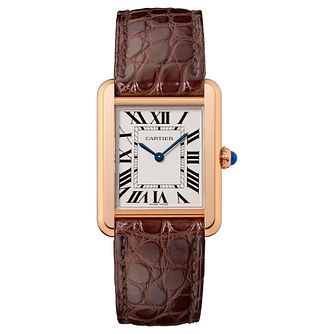 Cartier Tank Solo ladies' 18ct rose gold leather strap watch - Product number 2342731
