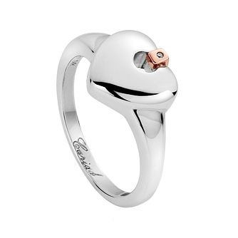 Clogau Silver & 9ct Rose Gold Cariad Heart Ring - Product number 2345382