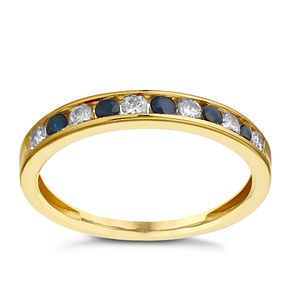 9ct Yellow Gold Sapphire & Cubic Zirconia Eternity Ring - Product number 2348195