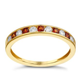 9ct Yellow Gold Garnet & Cubic Zirconia Eternity Ring - Product number 2348381