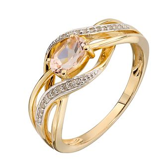 9ct Yellow Gold Treated Morganite & Diamond Twist Ring - Product number 2350459