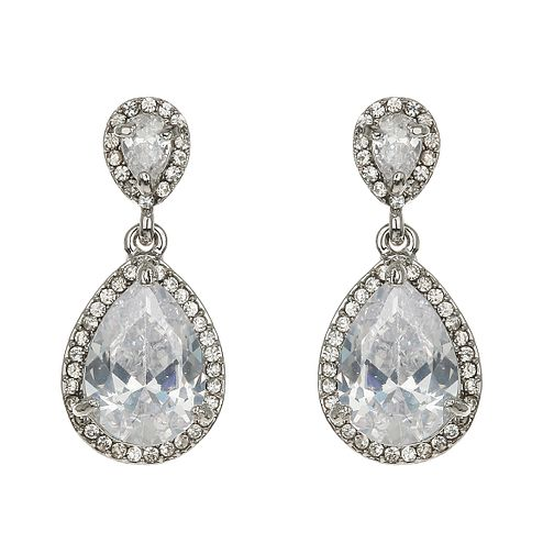 Mikey Silver Tone Large Teardrop Crystal Earrings - Product number 2351501