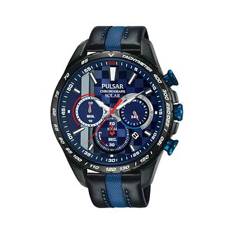 Pulsar M-Sport Solar Chronograph Leather Strap Watch - Product number 2352028