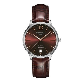 Certina DS Dream stainless steel brown leather strap watch - Product number 2352672